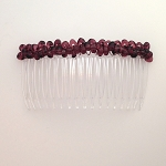 Marsala Glass Nugget Bead-wrapped Comb 82mm CO1531