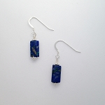 Azurite with Malachite Sterling Silver Drop/Dangle Earrings EAS1985